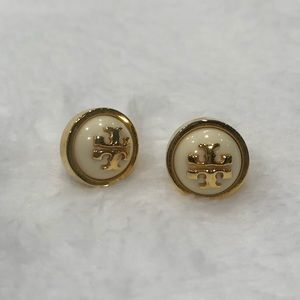 TORY BURCH Ivory Pearl Gold Studs